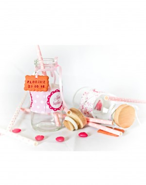 petit pot lait bapteme candy bar rose fille