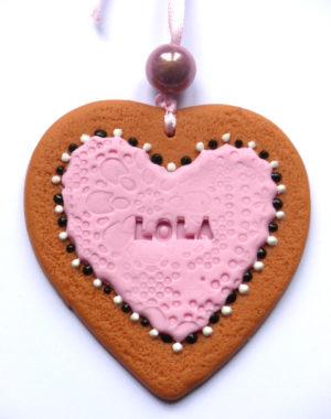 coeur biscuit deco noel prenom gravé