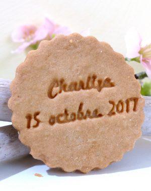 biscuit rond mariage, personnalisé