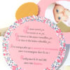 faire-part rond fille, gourmand, gourmandise, rose