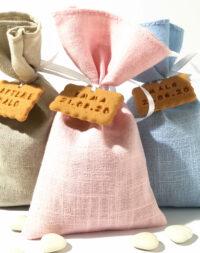 Sachet de dragées pour baptême, tissu lin