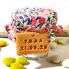 petit pot dragées, tissu, liberty, confiture, fleuri, baptême fille, gourmandise, biscuit