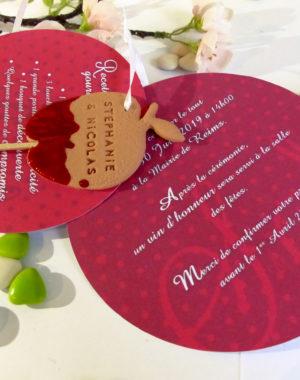 """Faire-part mariage """"pomme d'amour"""""""