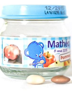 petit pot dragée bébé personnalisé