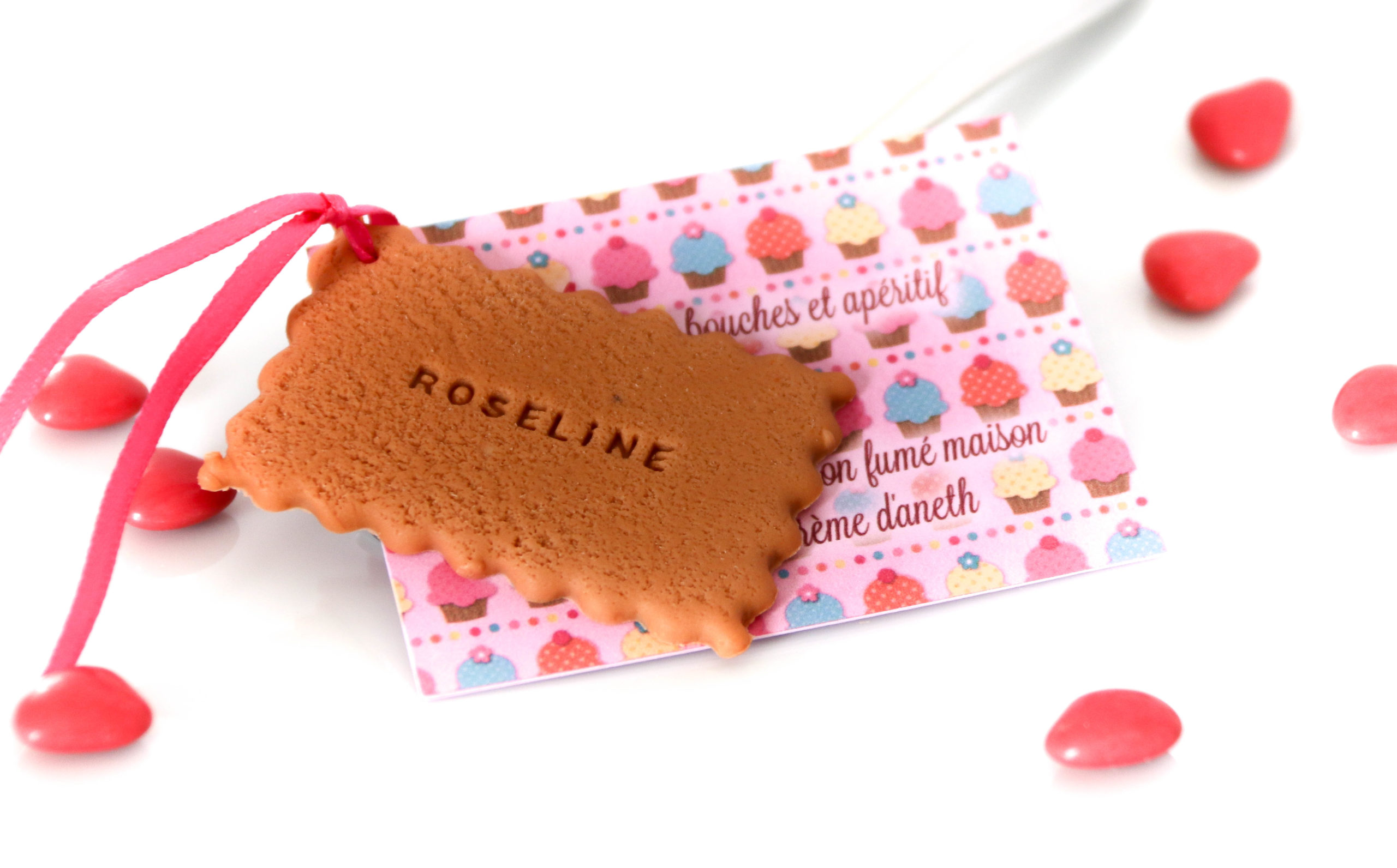 menu bapteme fille rose gourmand biscuit prénom
