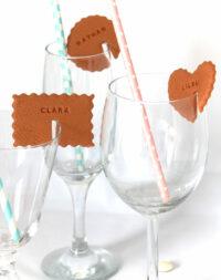 """Biscuit """"marque-place"""" sur verre"""