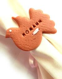 """Biscuit """"colombe"""", marque-place/rond de serviette"""