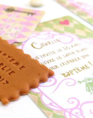 """Faire-part biscuit, """"Alice au pays des merveilles"""""""