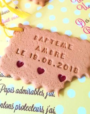 """Faire-part biscuit """"coeur confiture"""", carton fille 10 x 15 cm"""