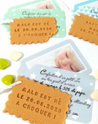 """Faire-part """"biscuit"""", étiquettes garçon"""