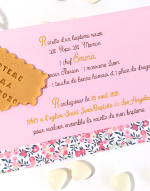 faire-part liberty, fille, gourmand, liberty rose, invitation