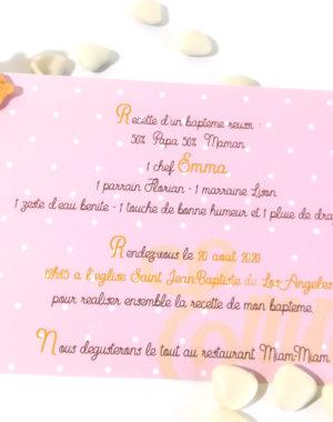 """Faire-part """"thème gourmandise"""", carton fille 10 x 15 cm"""