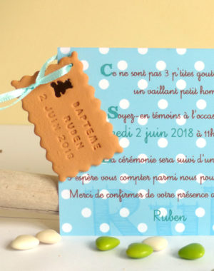 "Faire-part biscuit ""ourson chocolat"""