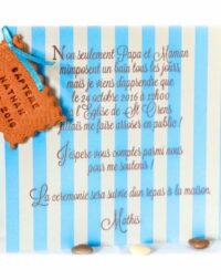 Faire-part gourmand, carton garçon 15 x 15 cm