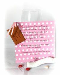 Faire-part biscuit, carton fille 15 x 15 cm
