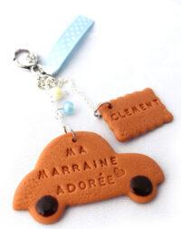 "Porte-clés biscuit ""petite voiture"""