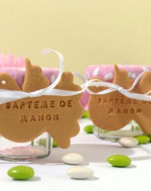 """Petit pot de dragées, biscuit """"colombe"""" personnalisé"""