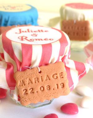 Contenant de dragées personnalisé, mariage rayé