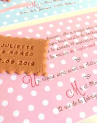Faire-part mariage petit beurre, thème pois