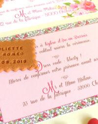 Faire-part mariage biscuit personnalisé, thème fleuri/liberty