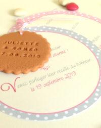 Faire-part mariage biscuit rond, thème pois