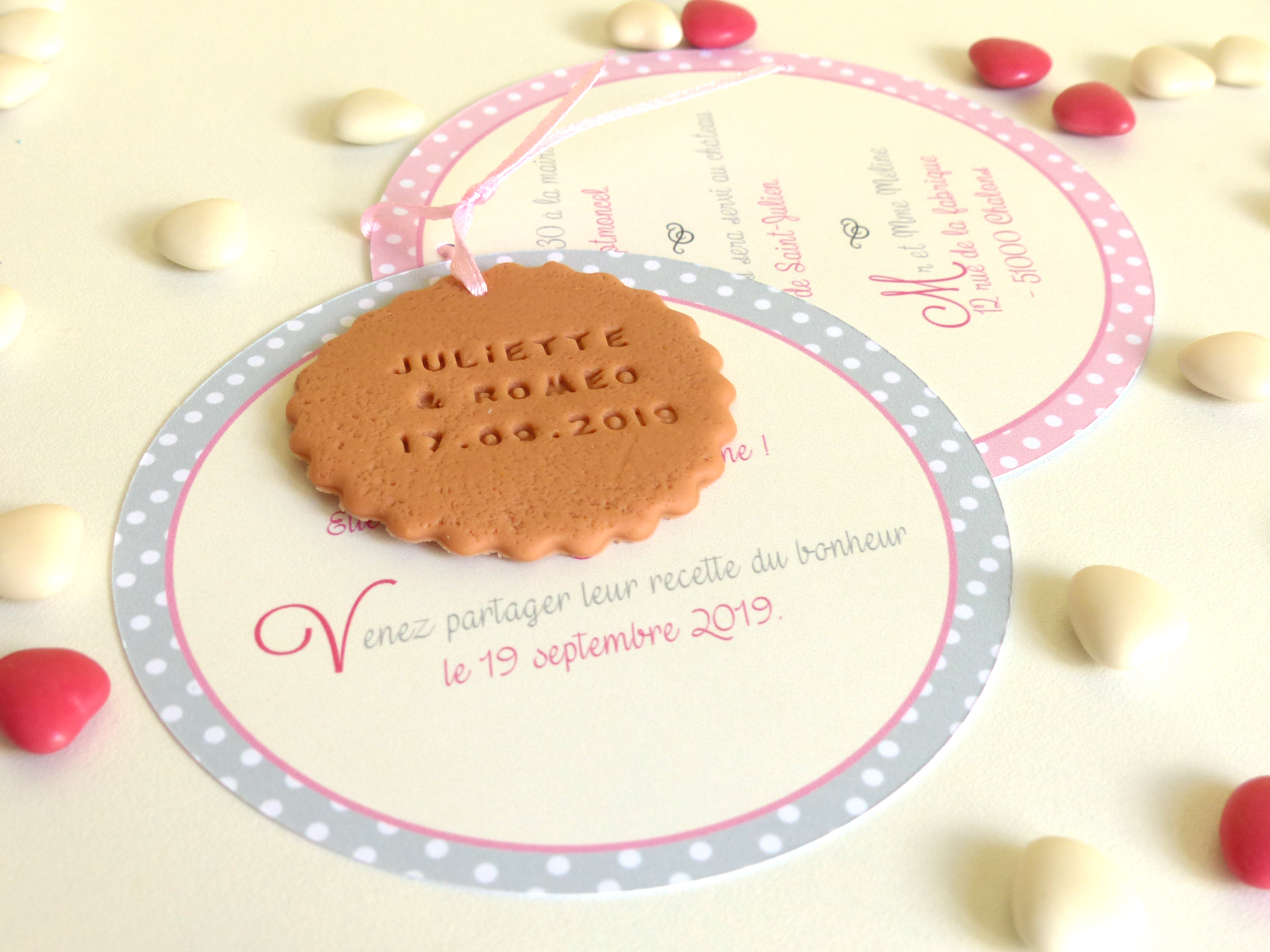 faire-part biscuit rond, pois rose et gris