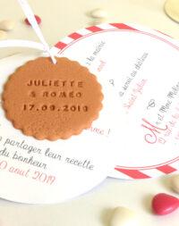 Faire-part mariage biscuit rond, thème rayé