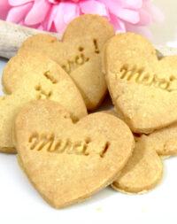 """x20 Biscuits mini-coeur """"Merci"""" !"""