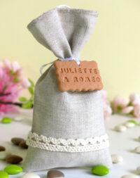 Sachet de dragées en lin, mariage vintage et romantique