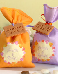 Ballotin de dragées mariage orange ou mauve