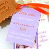Faire-part biscuit étiquette mariage orange te mauve