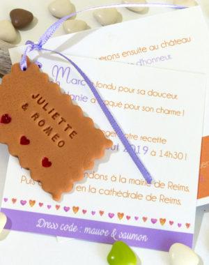 """Faire-part mariage """"biscuit personnalisé"""", carton carré"""