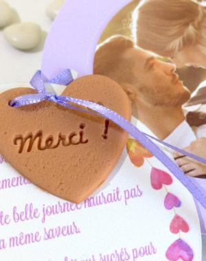 """Remerciement biscuit coeur """"Merci !"""""""