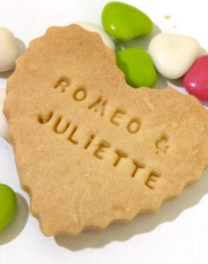 biscuit coeur sablé, personnalisé prenom