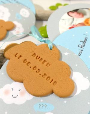 """Faire-part """"biscuit nuage"""""""