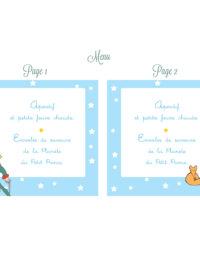"Menu, thème ""petit prince"", biscuit ""renard"""