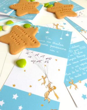 """Faire-part, thème """"petit prince"""", biscuit """"étoile"""""""