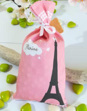 """Sachet de dragées fille, """"Paris-la tour Eiffel"""""""