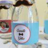 mini bouteille de lait thème hipster, moustache, noeud papillon, noeud pap, rétro, vintage