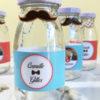 mini bouteille de lait, mariage hipster, moustache, noeud papillon, rouge, bleu, retro, vintage