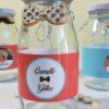 mini bouteille de lait, hipster rouge, mariage, noeud pap, noeud papillon, déco candy bar, table, dragées, boisson