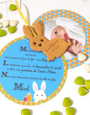 """Faire-part rond """"lapin de Pâques"""""""
