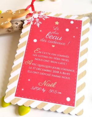 """Faire-part de Noël """"bonhomme pain d'épice"""""""