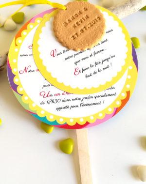 faire-part invitation mariage, thème gourmandise, sucette