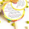 faire-part mariage thème gourmandise, multicolore, sucette, jaune