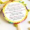 faire-part mariage thème gourmandise, jaune, multicolore, biscuit sucette