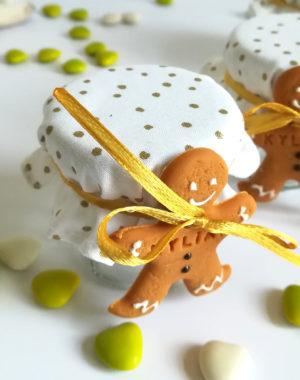 """Petit pot de dragées """"Petit bonhomme pain d'épice"""""""
