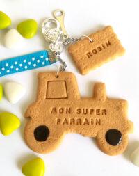 Porte-clés biscuit tracteur
