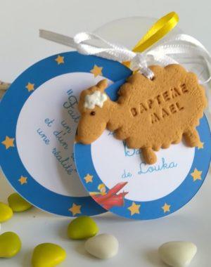 """Boule en plexiglass pour dragées, thème """"Le petit prince""""/mouton"""
