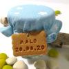 contenant de dragées, mini pot de confiture, tissu bleu étoile blanche, biscuit gourmand, gravure prenom, date, personnalisé